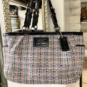 Coach multicolor tweed fabric handbag